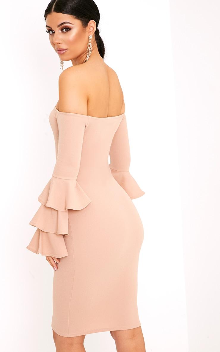 Aniaa Nude Bardot Ruffle Sleeve Midi Dress 2