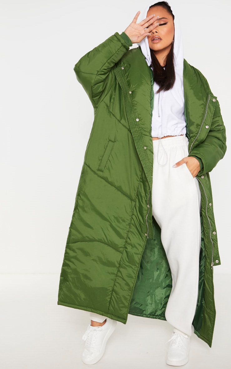 Khaki Green Midi Oversized Puffer Coat 1