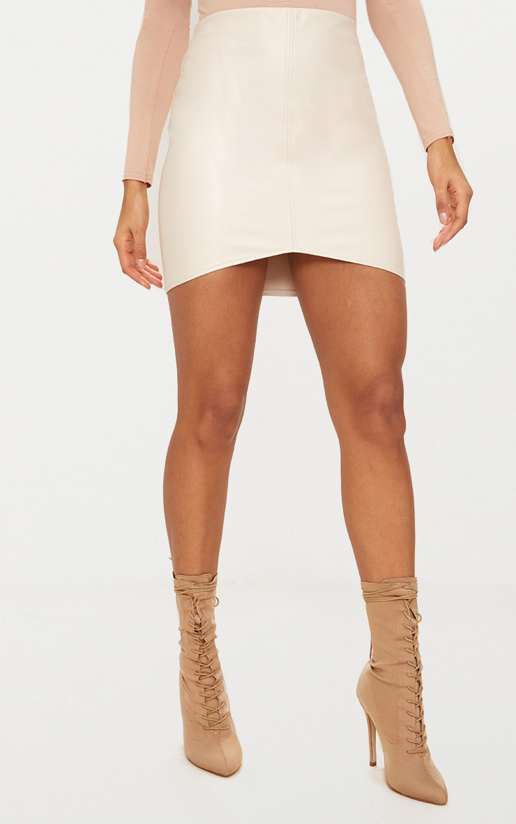 Stone Faux Leather Seam Mini Skirt 2