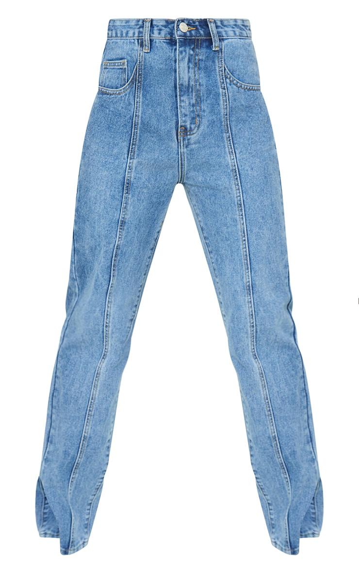 Vintage Wash Seam Detail Split Hem Jeans 5