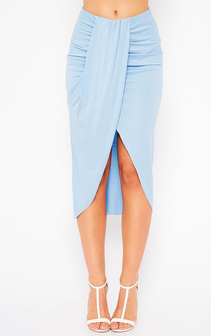 Ivana Powder Blue Drape Midi Skirt 2