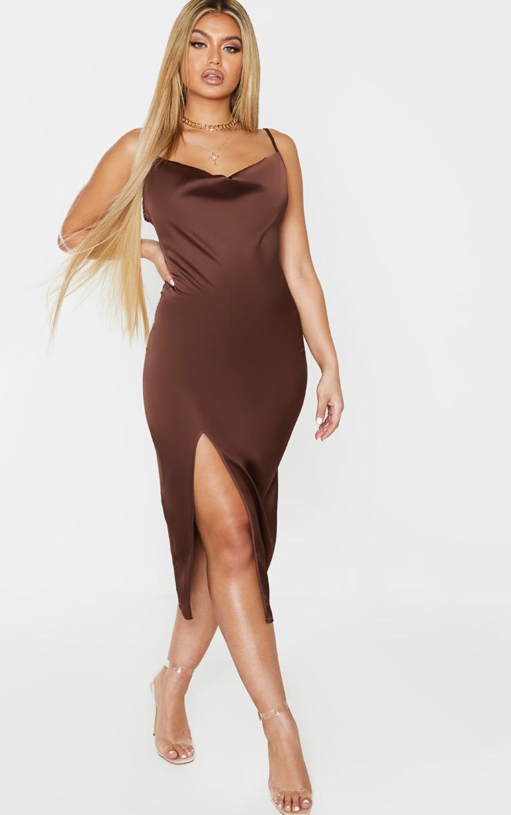 Chocolate Brown Strappy Satin Cowl Midi Dress 4