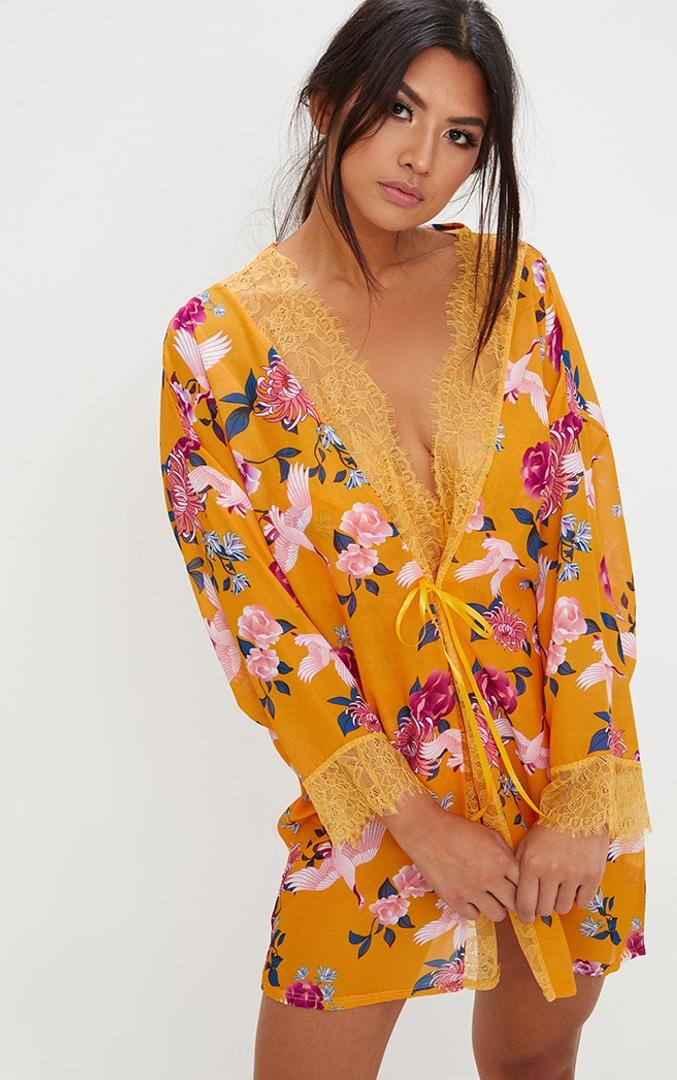 Mustard Floral Print Chiffon Robe 1