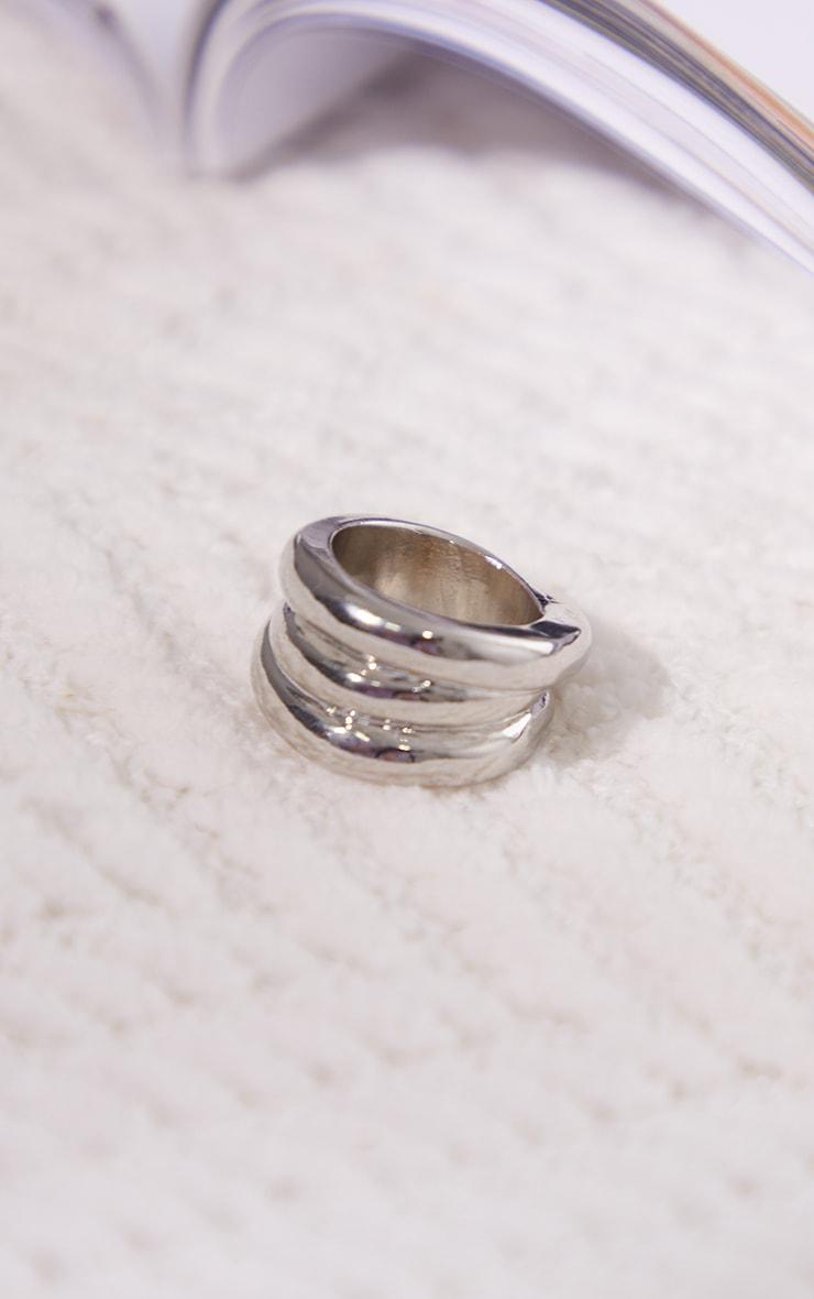 Silver Chunky Ribbed Ring 3