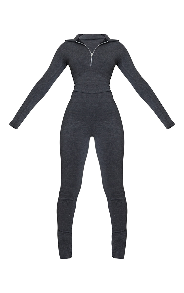 Charcoal Underbust Binding Detail Rib Jumpsuit 5