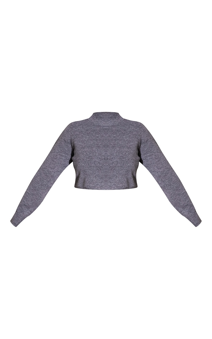Plus Charcoal Recycled Funnel Neck Crop Jumper 5