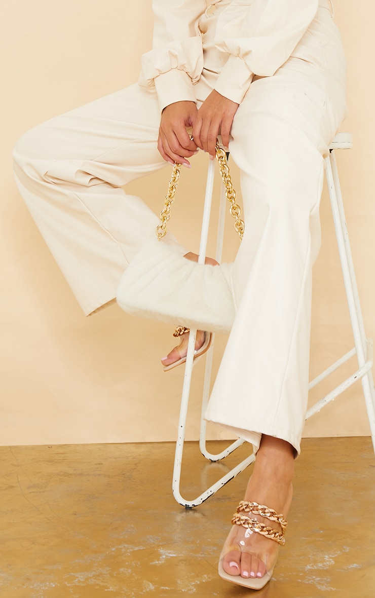 Nude Square Toe Chain Detail Metal Heeled Mules 2