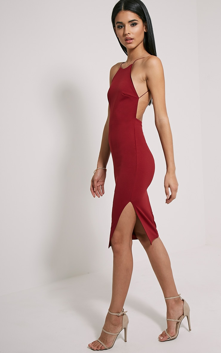 Kady Wine Backless Midi Dress 1