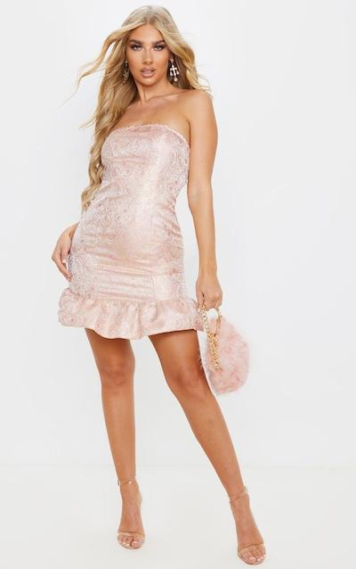 Pale Pink Jacquard Frill Hem Bandeau Bodycon Dress