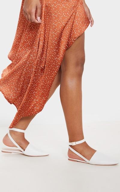 White Point Toe Slingback Ankle Strap Flat