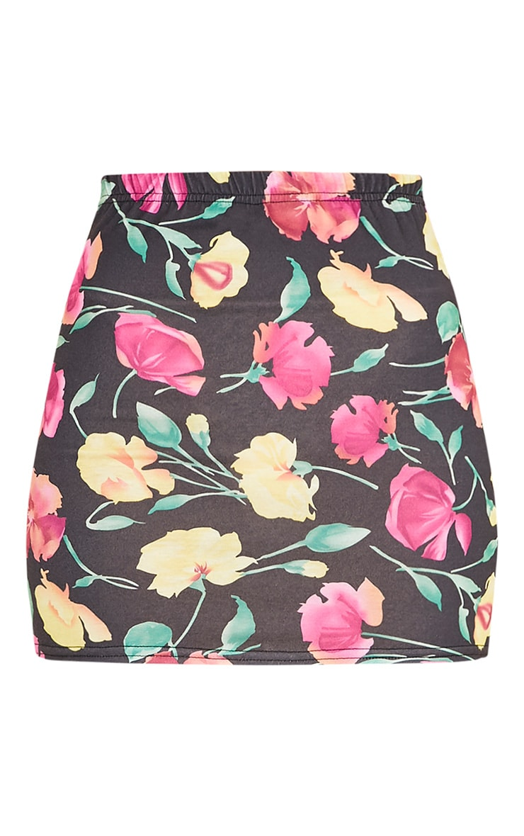 Hasina Black Pretty Floral Print Mini Skirt 3