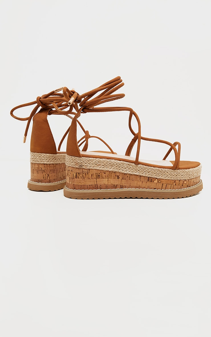 Tan Lace Up Strappy Flatform Sandal 4