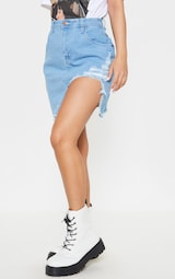 0010cdff833 Petite Light Wash Distressed Front Rip Denim Skirt image 2