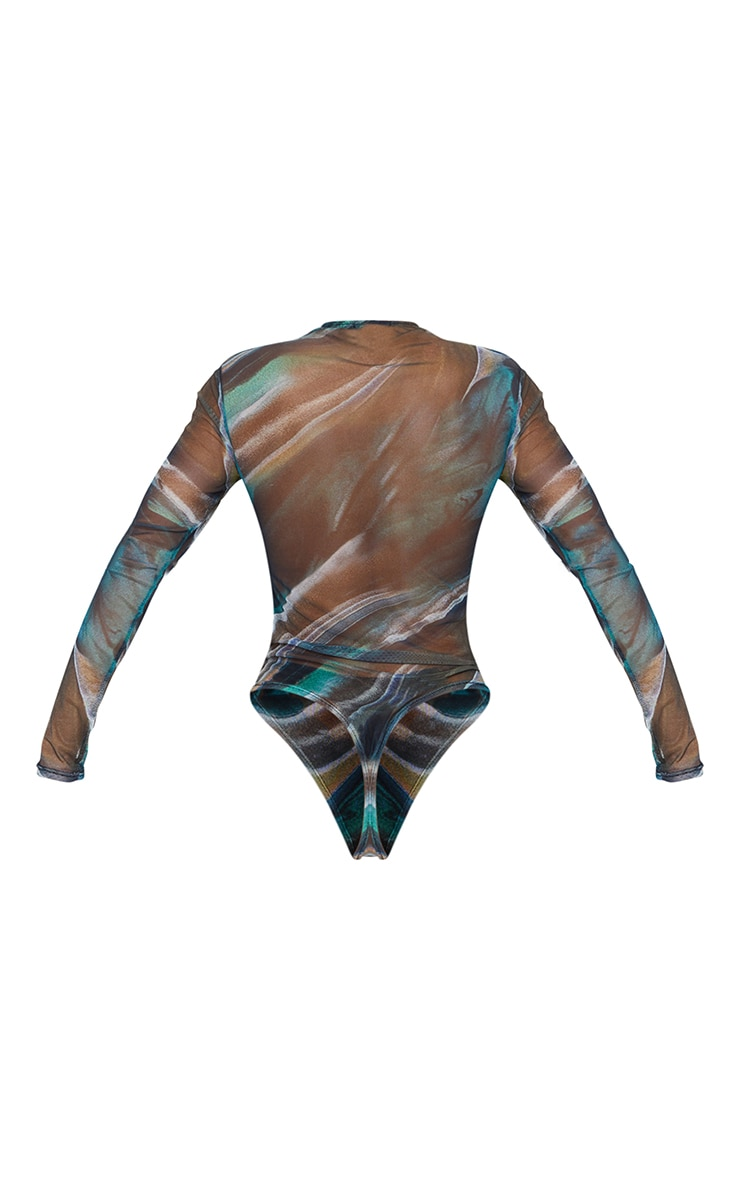 Green Abstract Printed Mesh Ruched Front Long Sleeve Bodysuit 6