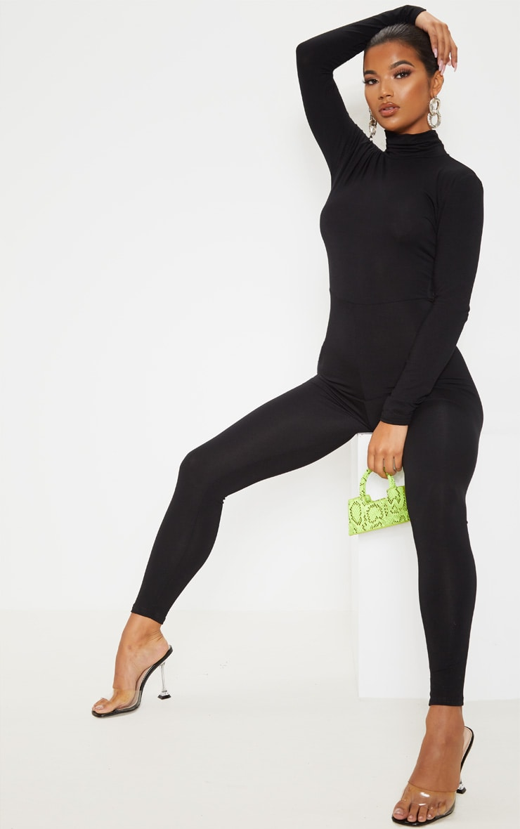 Black Roll Neck Long Sleeve Jumpsuit 4