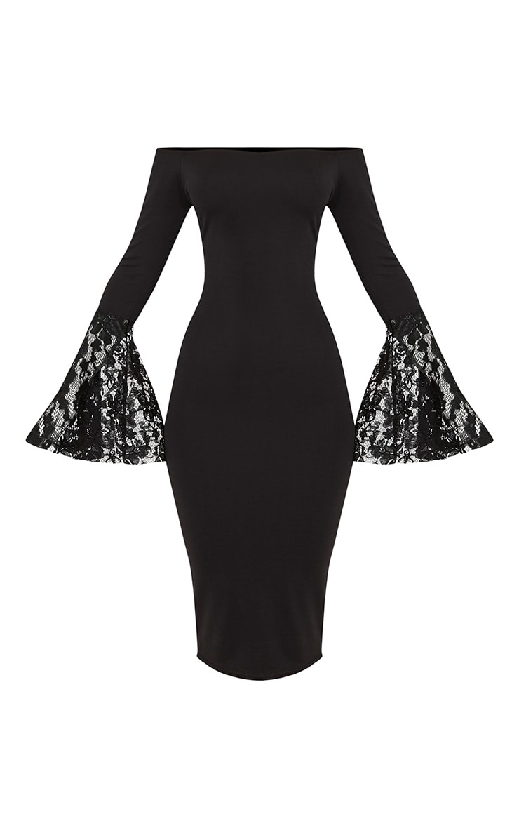 Tayler Black Bardot Lace Flared Sleeve Midi Dress 3