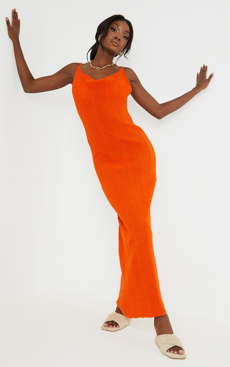 Tall Rust Knitted Low Back Extreme Side Split Maxi Dress 1