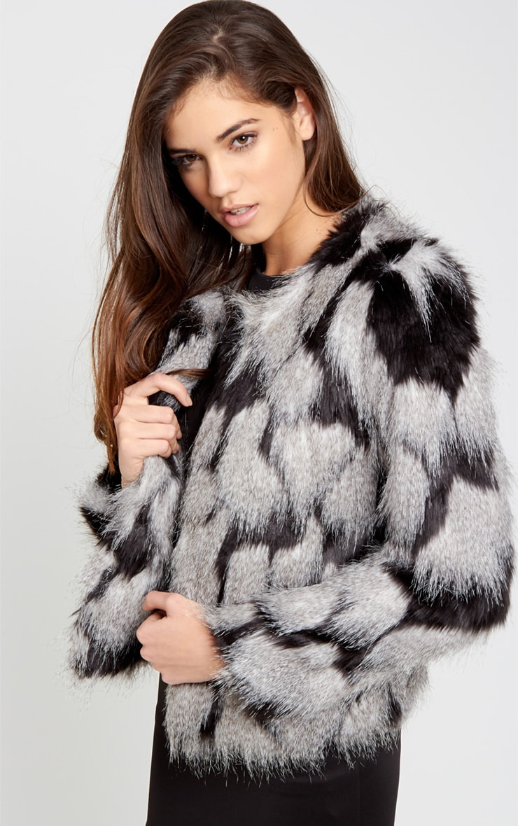Amia Grey Fur Cropped Coat 1