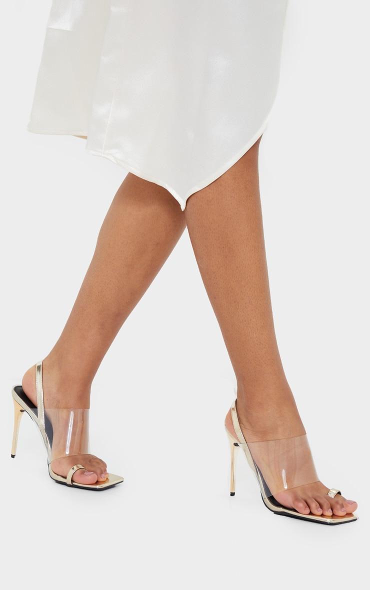 Gold Clear Strap Toe Loop Sling Back High Heel Sandals 1