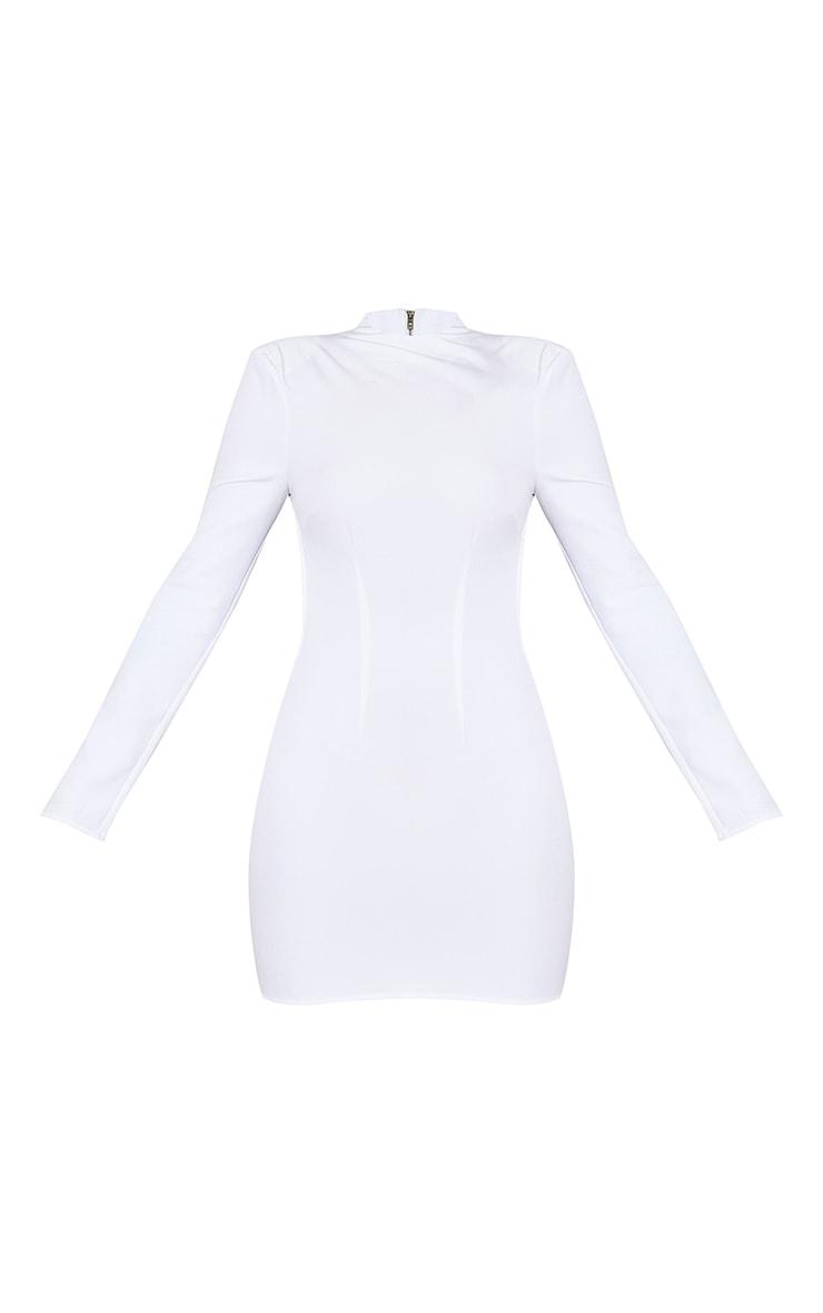 White Woven High Neck Long Sleeve Open Back Detail Bodycon Dress 5