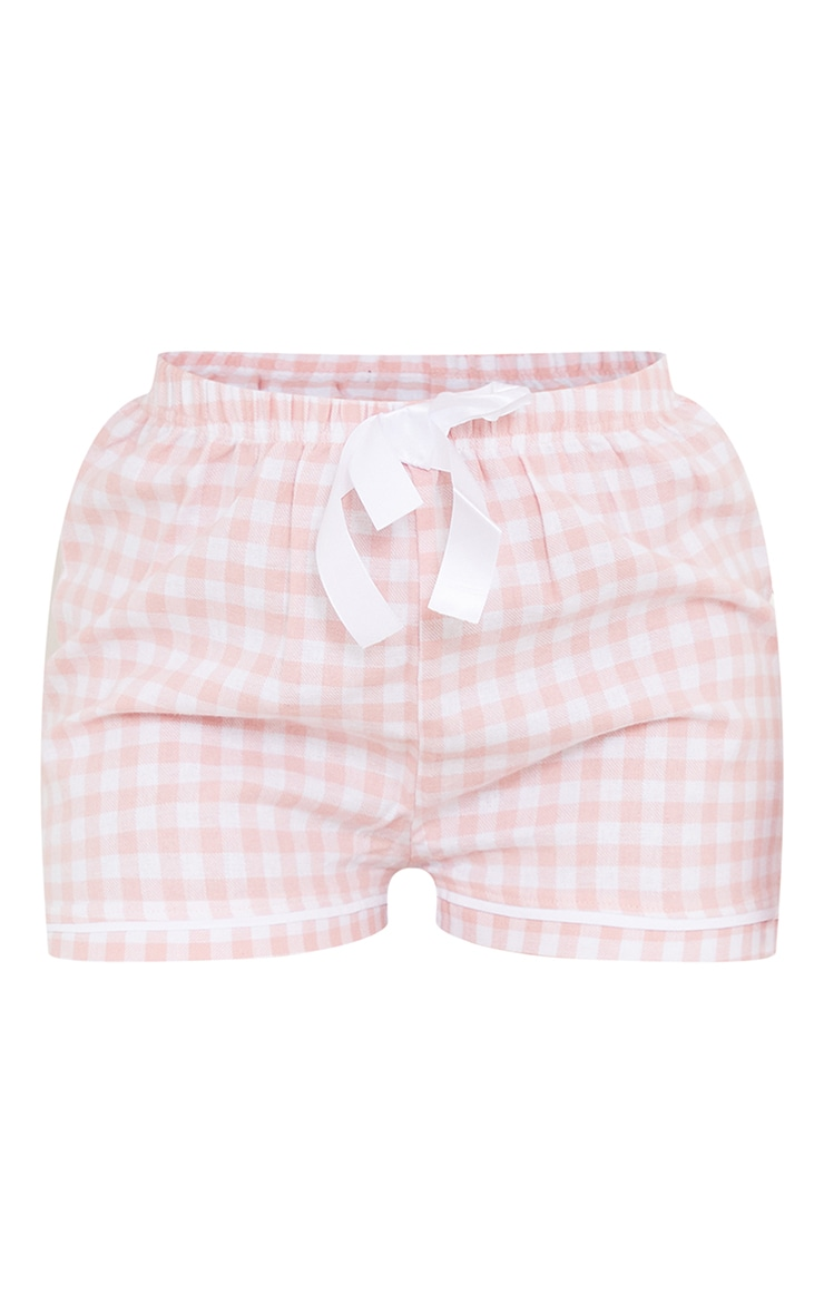 Pale Pink Mix And Match Tie Waist Check PJ Shorts 5