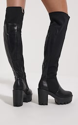 a18ba06f8aa Zeana Black Chunky Cleated Sole Over Knee Boots - Boots ...