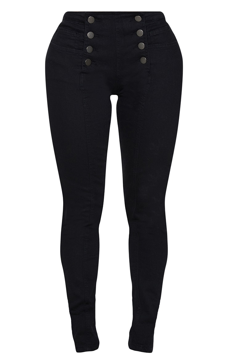 Shape Black Button Front High Waist Skinny Jeans 5