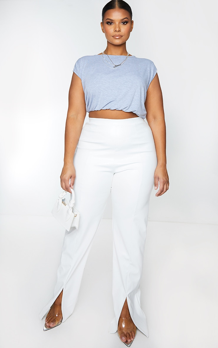 Plus Grey Jersey Shoulder Pad Crop Top 1