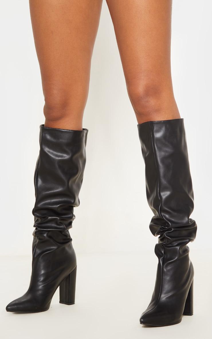 Black Slouch Block Heel Calf Boot 3