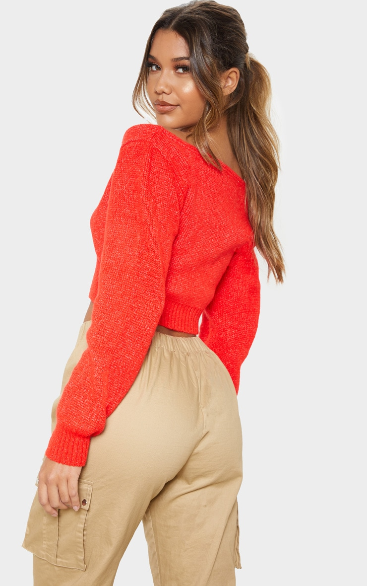 Tomato Red V Neck Off Shoulder Soft Knitted Crop Sweater 2