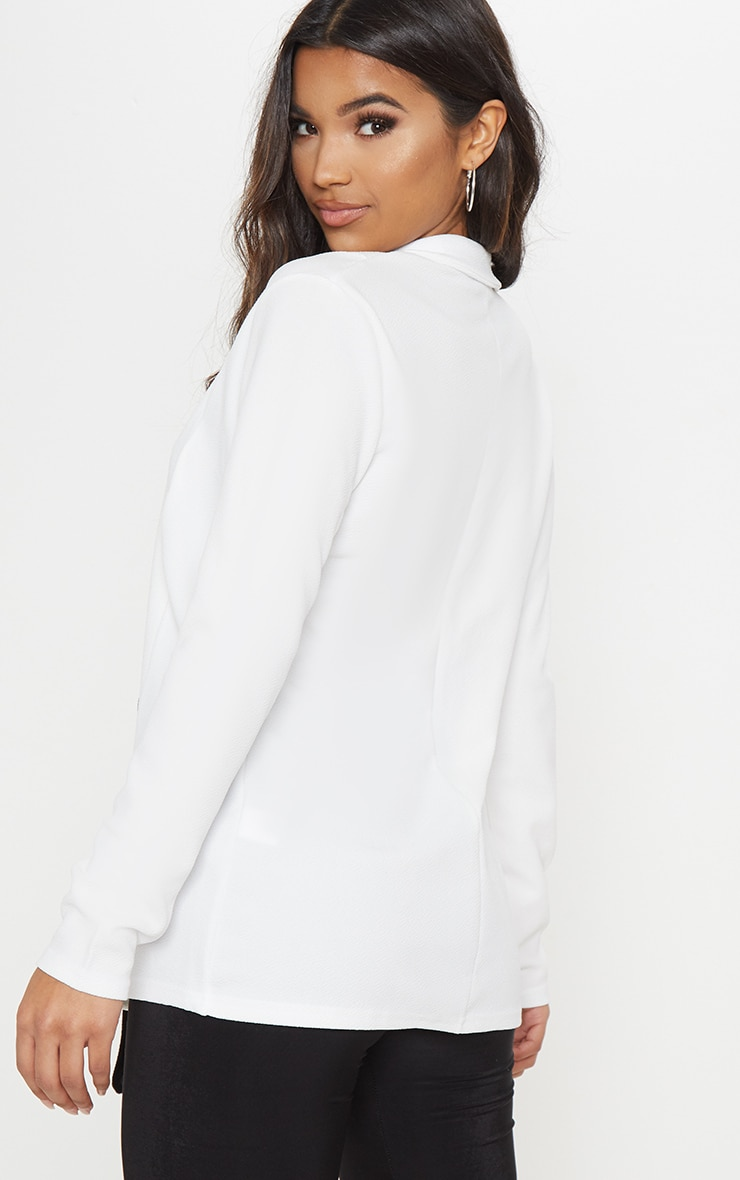White Contrast Side Tie Blazer  2