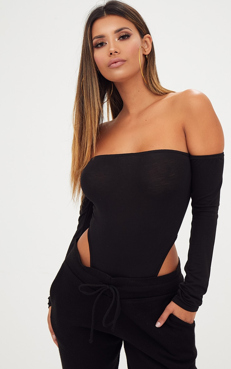 Black Bardot High Leg Longsleeve Thong Bodysuit 1