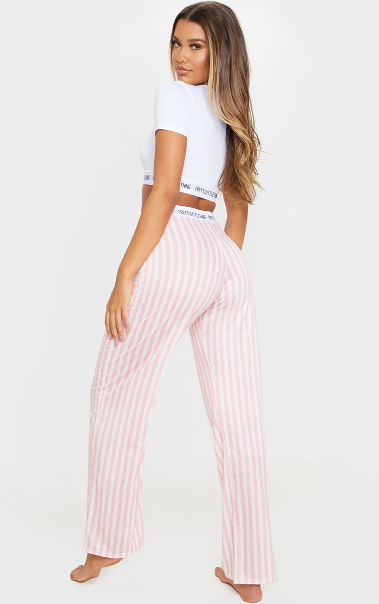 PRETTYLITTLETHING Pink Stripe Trouser PJ Set 2