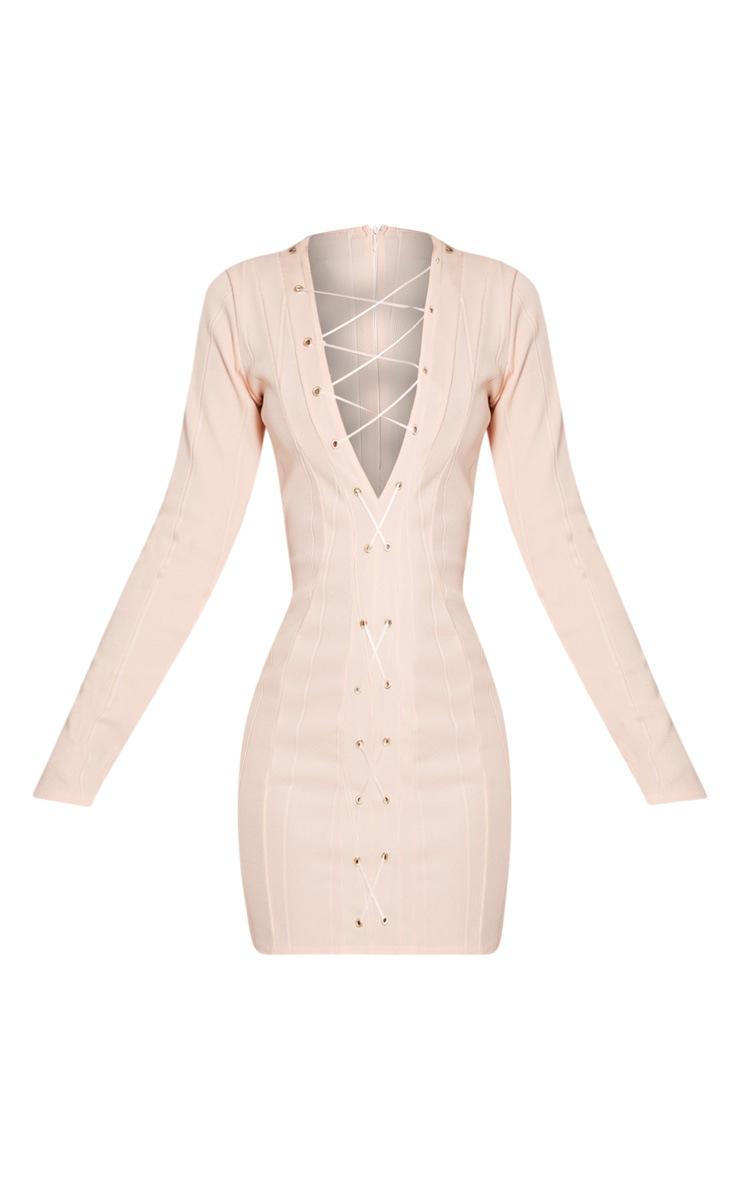 Nya Nude Lace Up Bandage Bodycon Dress 4
