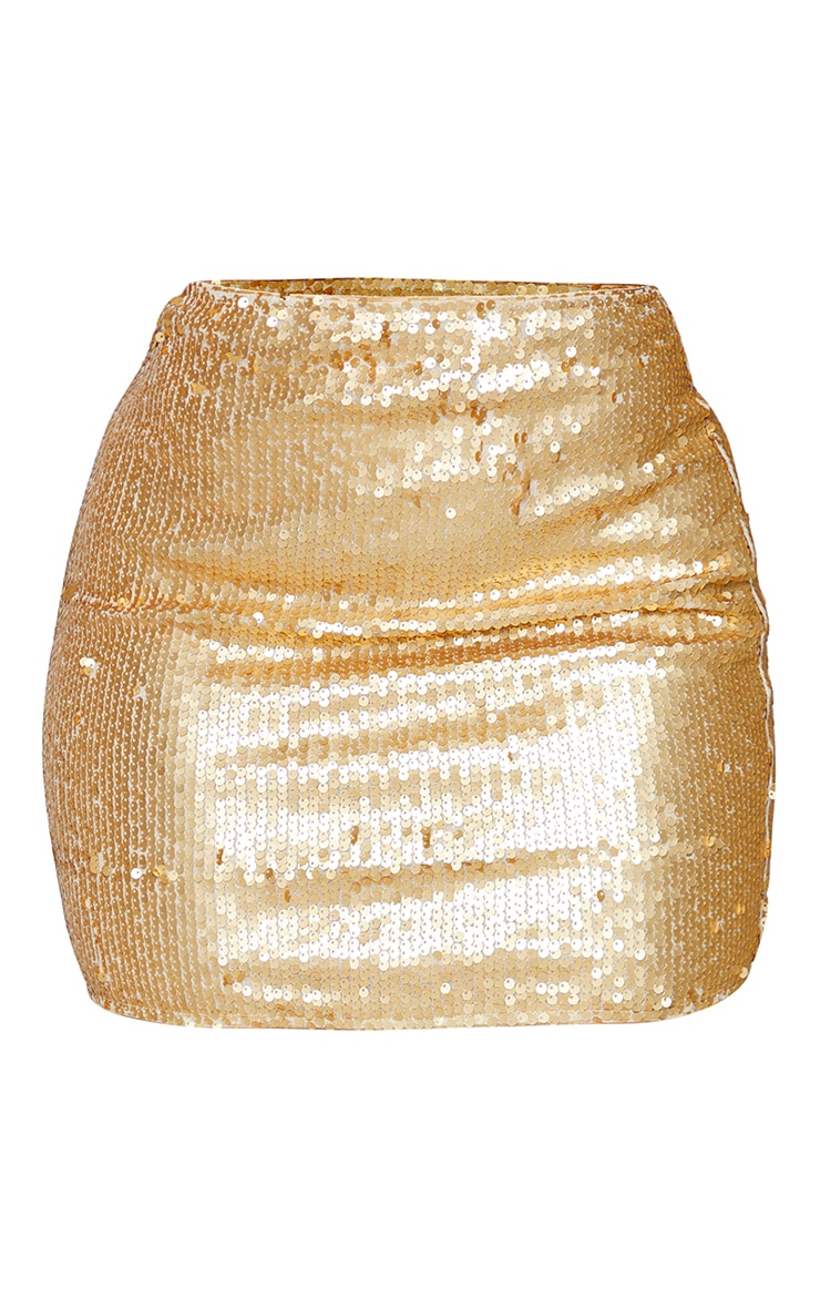 Shape Gold Sequin Bodycon Skirt 6