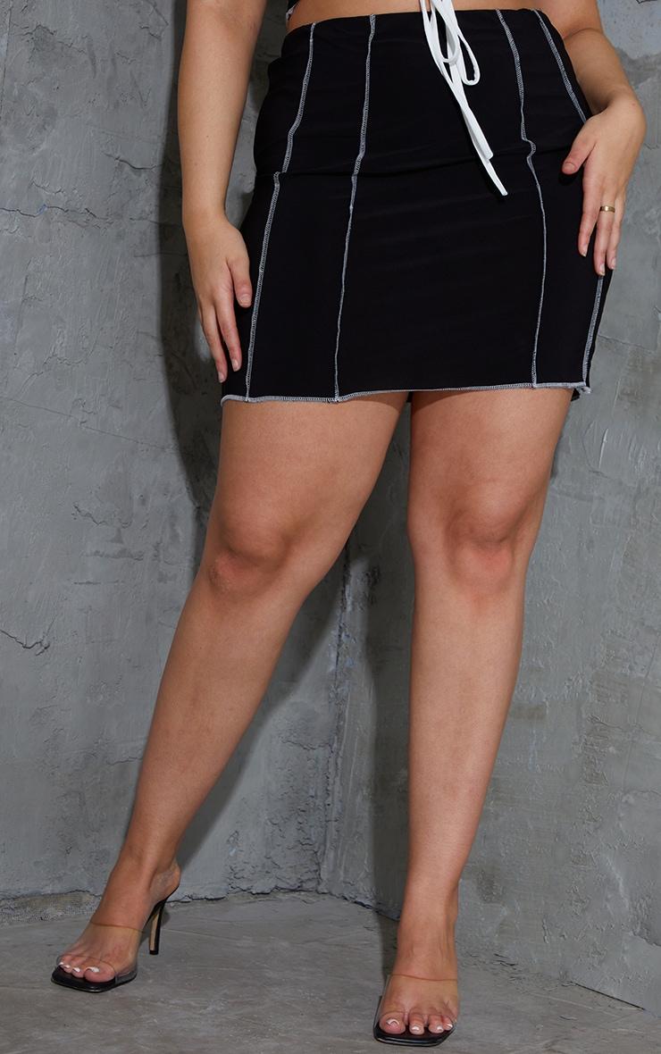Plus Black Lace Up Contrast Stitch Skirt 2
