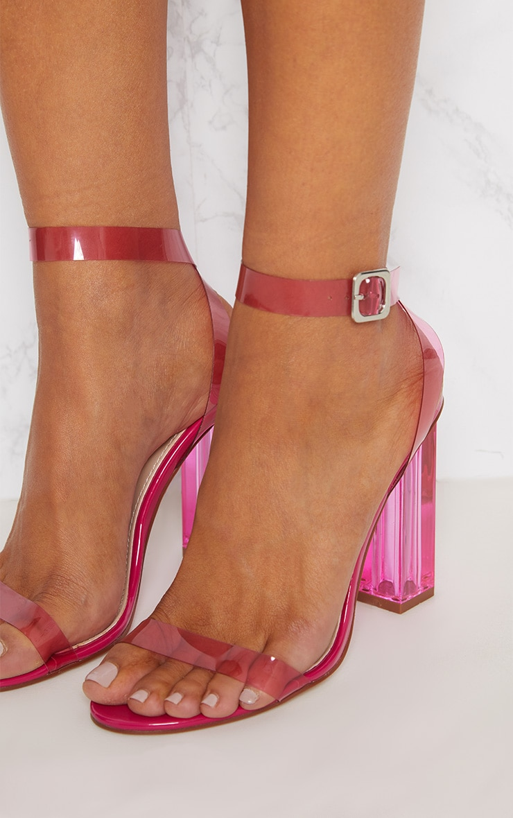 Hot Pink Coloured Clear Strappy Heel 5
