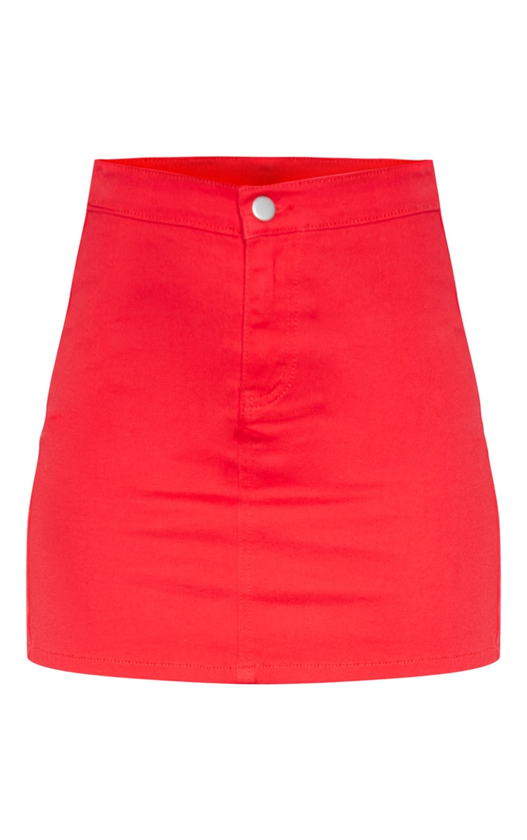 Red Disco Fit Denim Skirt 3