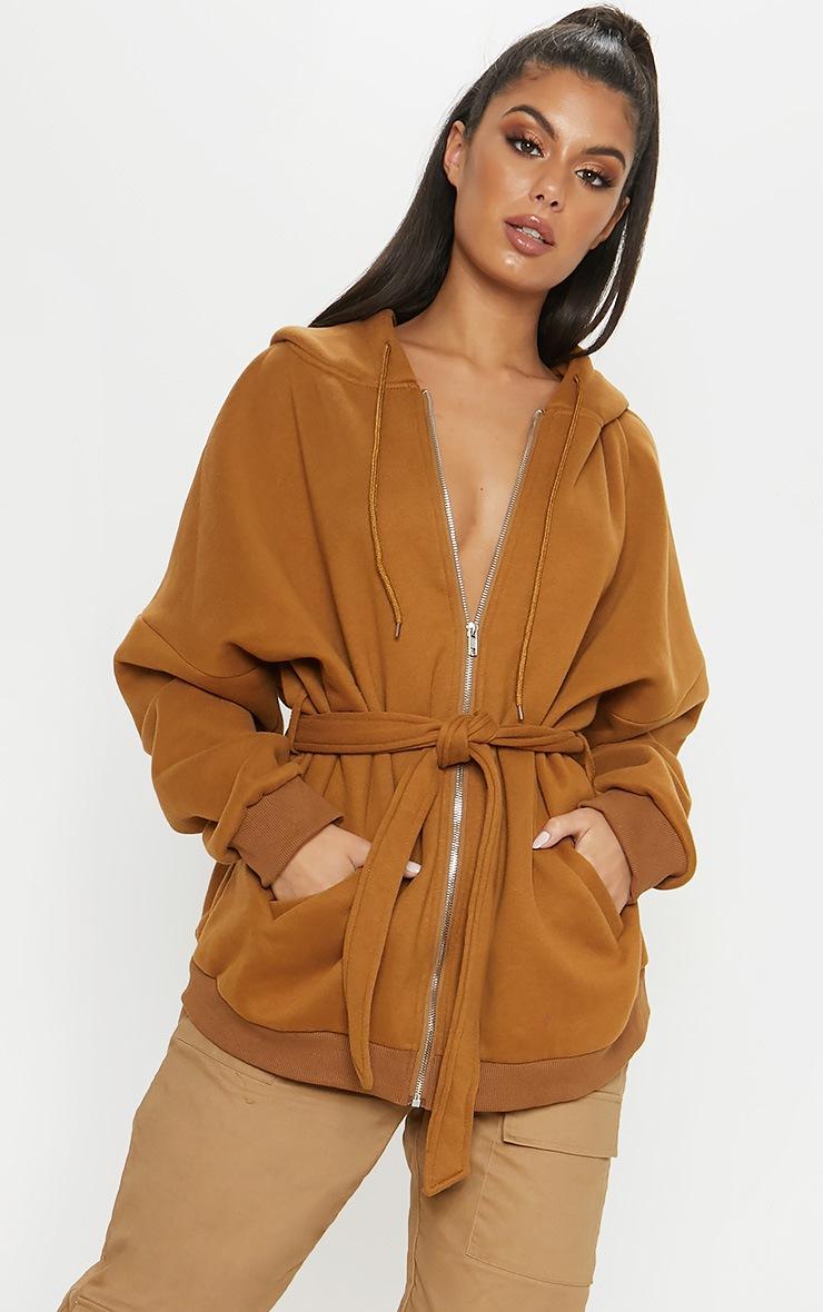 Camel Belted Hoodie  4