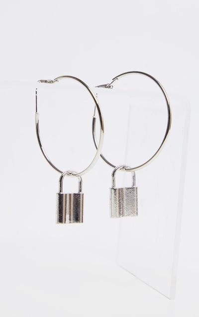 Silver Padlock Charm Medium Hoop Earrings