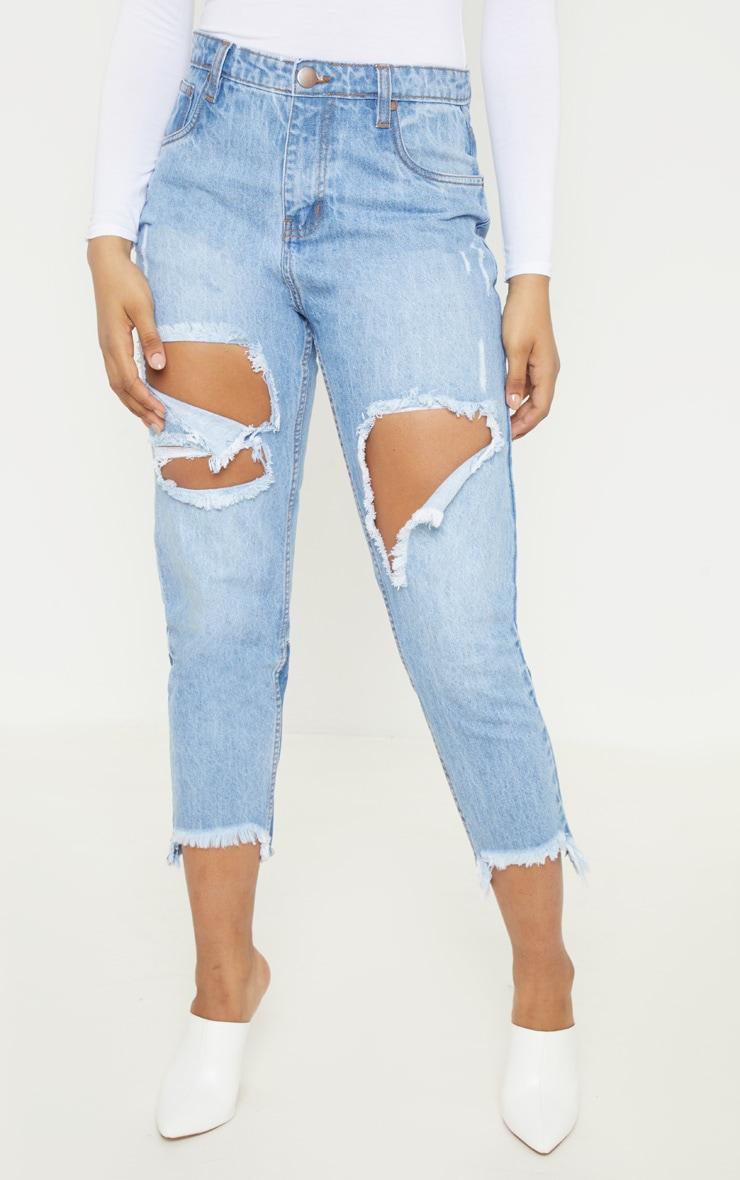 Tall Light Wash Distressed Frayed Hem Jeans 2