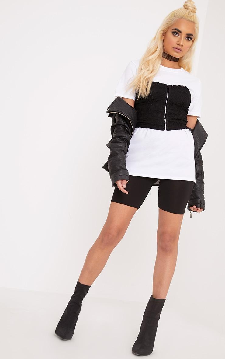 Arlene White Lace Corset Detail T Shirt 4