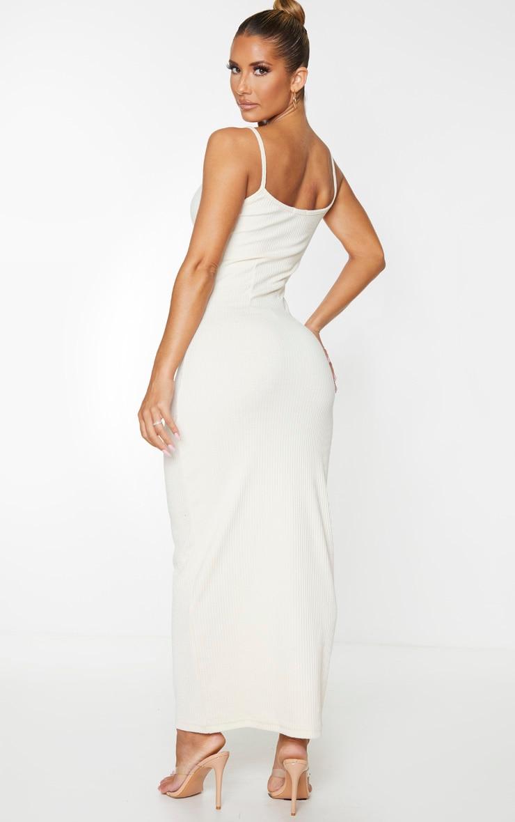 Stone Thick Rib Cinched Waist Midi Dress 2