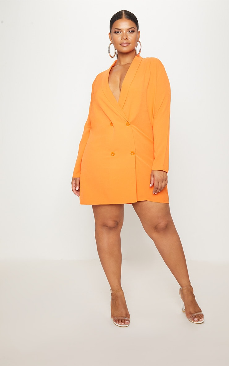 Plus Orange Oversized Blazer Dress 4