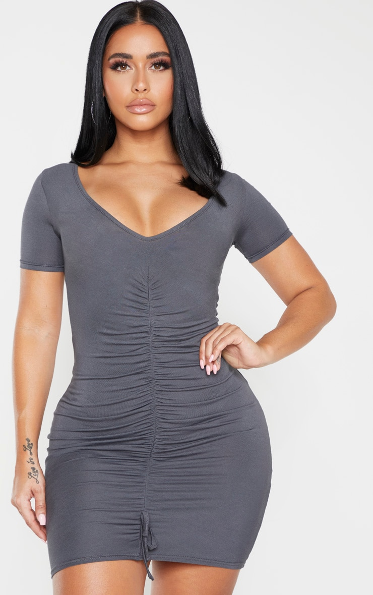 Shape Charcoal Jersey Ruched Cap Sleeve Dress  1
