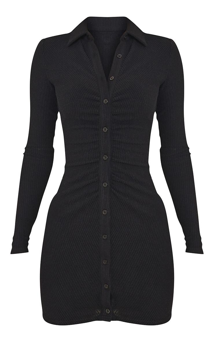 Black Rib Long Sleeve Ruched Shirt Dress 5