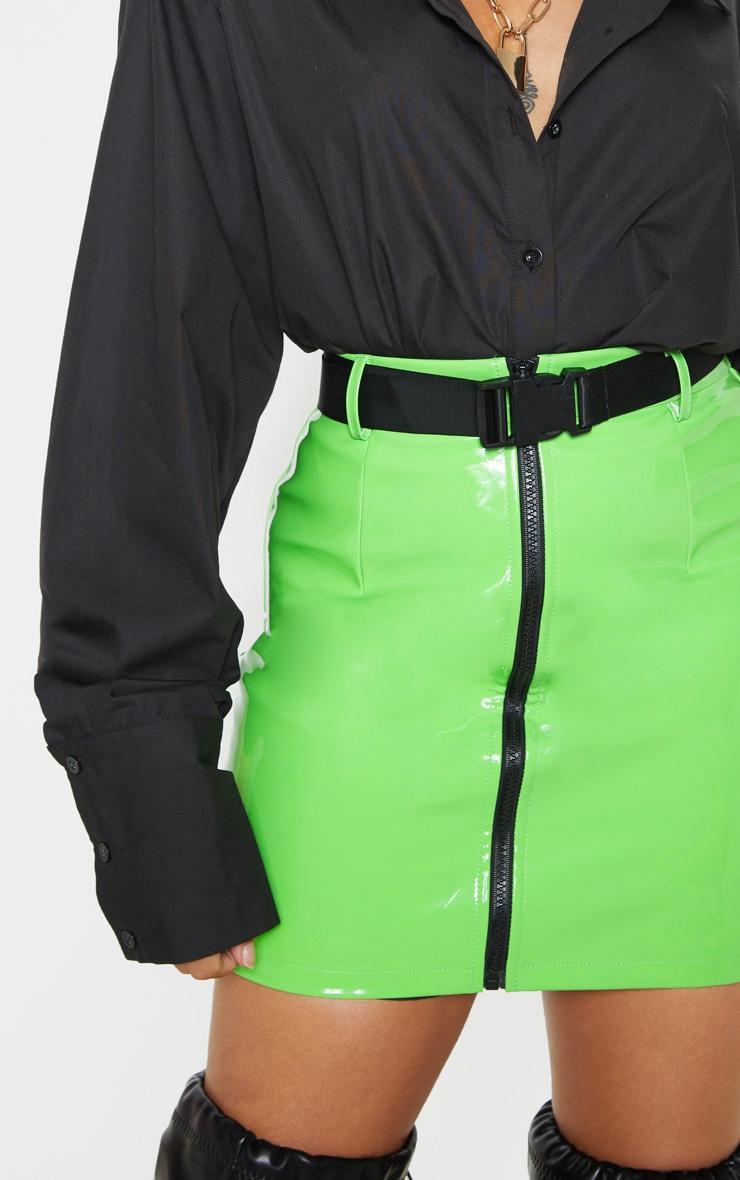 Petite Neon Green Vinyl Zip Front Belted Mini Skirt 6