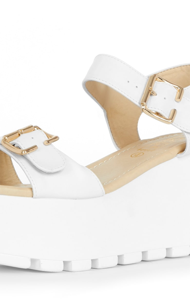Darcy Cleated White Strap Flatform with Buckle 3