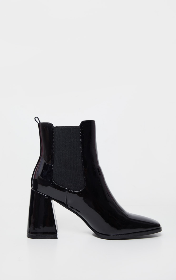 Black Block Heel Square Toe Ankle Boot 3