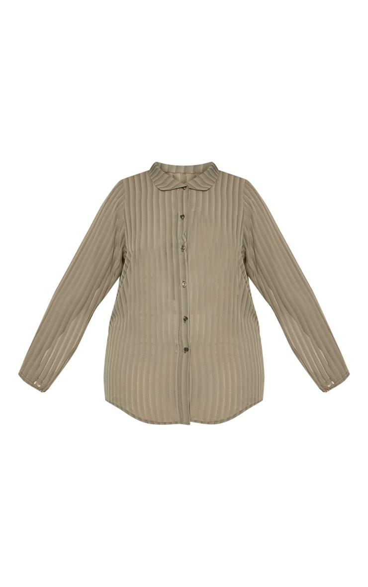 Plus Khaki Striped Chiffon Oversized Shirt 3